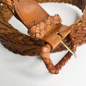 VINTAGE | Brown Leather Woven Belt